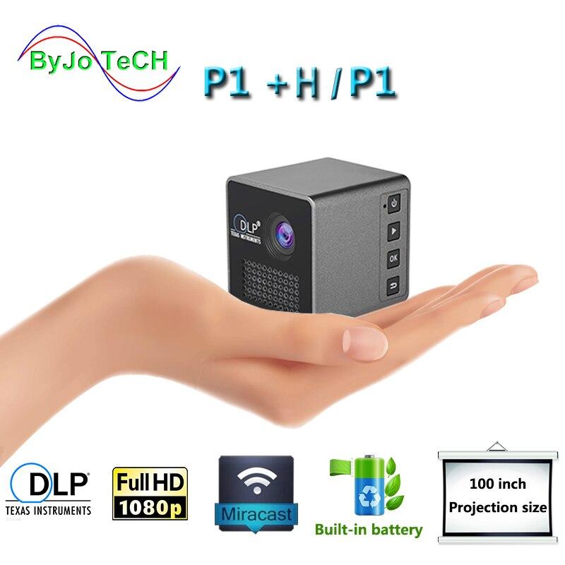 Byjotech p1 p1 móvel projetor p1 + h bolso casa filme projetor proyector beamer bateria mini dlp projetor mini projetor led