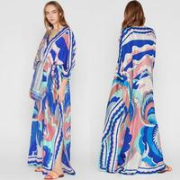 New Middle East Loose Size V Collar Fashion Printed Elastic Knitted Leisure silk jersey Dresses