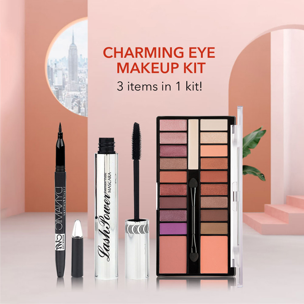 Glitter 20 Colors Eyeshadow Palette Eyeliner Pigment Mascara Makeup Kit For Daily Eye Palette Maquillage Yeux Beauty Glazed #68 Eye Shadow
