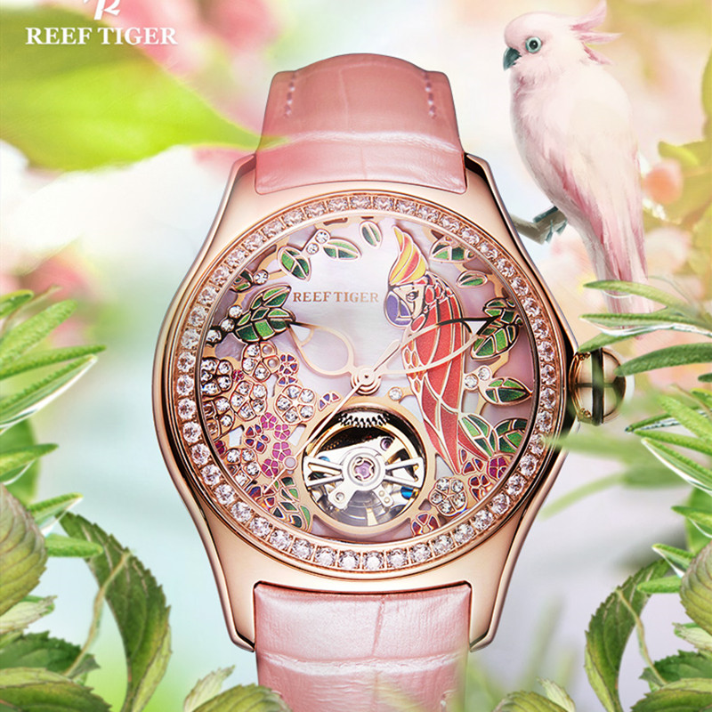 Reef Tiger Brand Fashion Style Ladies watch Mechaincal Waterproof Automatic Watches Top Luxury Casual Business Watch