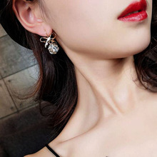 Charmcci Color plating high quality Hot crystal box cute bow earrings fashion style zircon wild wholesale wome