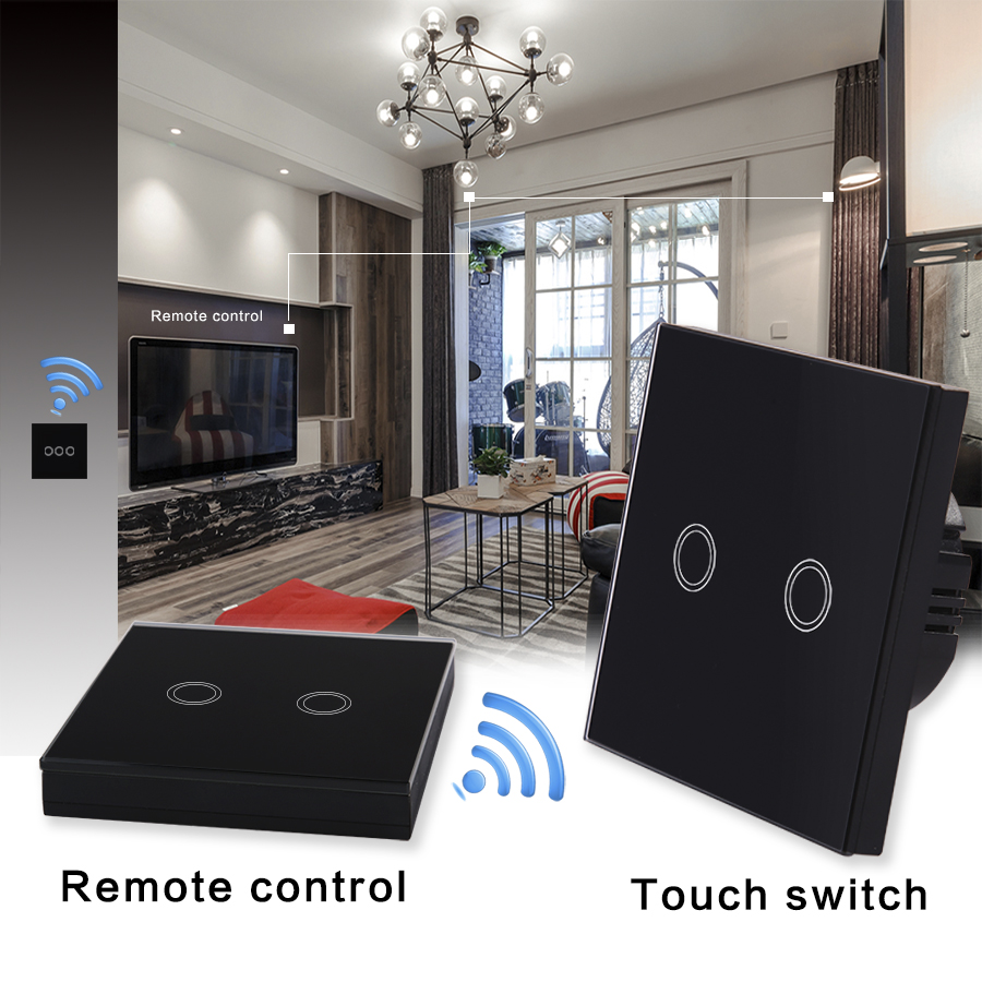 VHOME EU standard Touch remote control & light switch, wireless remote control wall lamp chandelier switch RF433Mhz AC170-240V5A black color 2gang touch light switch with wireless remote control rf 433mhz glass panel smart wall touch switch uk type