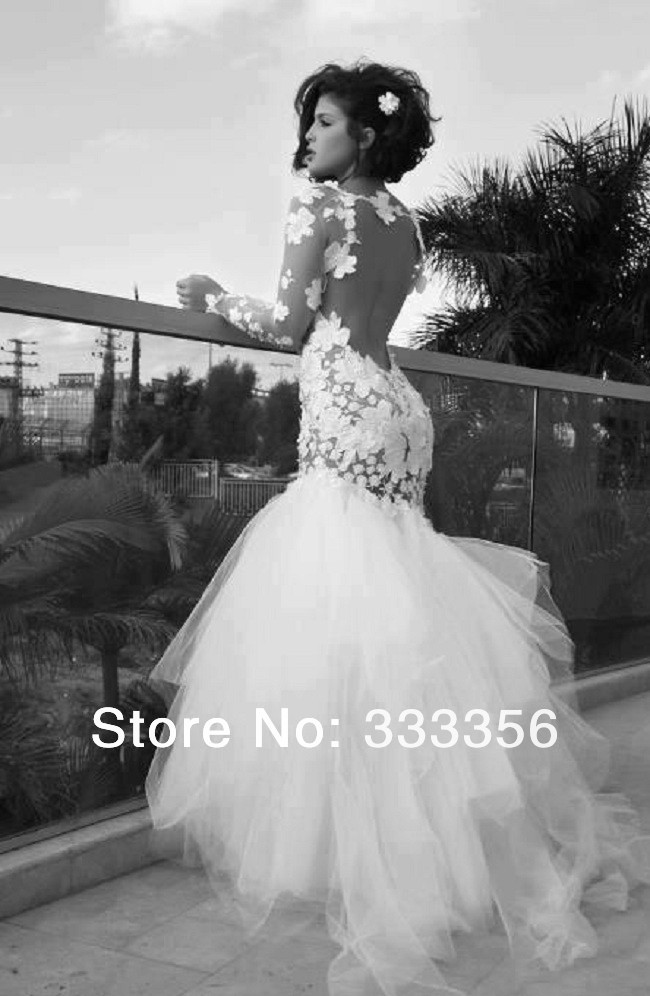 2015 HOT SALE Vintage Lace Appliques Backless Tulle Long Sleeve Mermaid Wedding Gown Custom Made