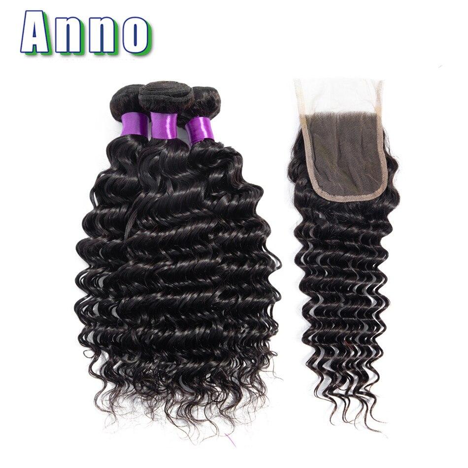 Annowig Peruvian Deep Wave Bundles With Closure Natural Color Hair Weaves Non Remy Human Hair 3
