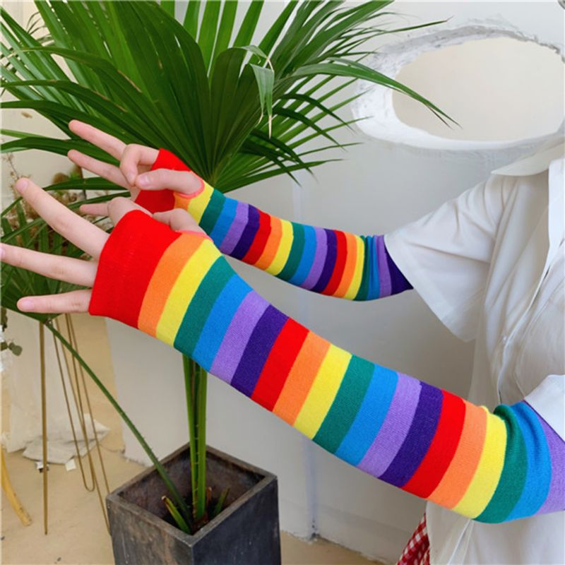 Women Girl Harajuku Elbow Length Fingerless Arm Sleeve Warmer Rainbow Colored Striped Knitted Sunscreen Halloween Costume Gloves