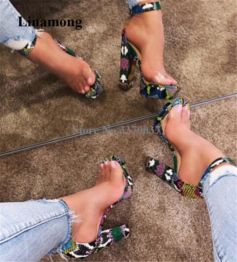 Newest Sexy Women Open Toe Mixed-colors Snakeskin Chunky Heel High Platform Sandals One PVC Strap High Heel Sandals Dress Heels