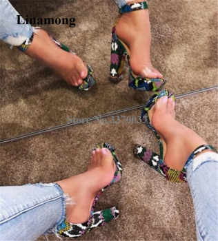 Newest Sexy Women Open Toe Mixed-colors Snakeskin Chunky Heel High Platform Sandals One PVC Strap High Heel Sandals Dress Heels - DISCOUNT ITEM  33% OFF All Category