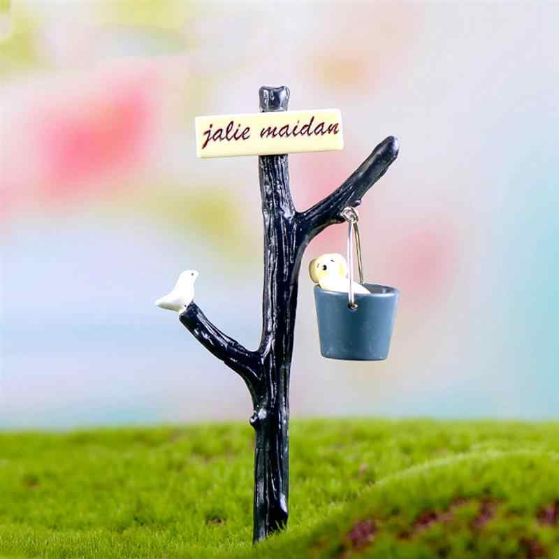 1pcs Dog Water Bucket Road Sign Terrarium Figurines Fairy Garden Miniatures Miniaturas Resin Craft Bonsai Decor