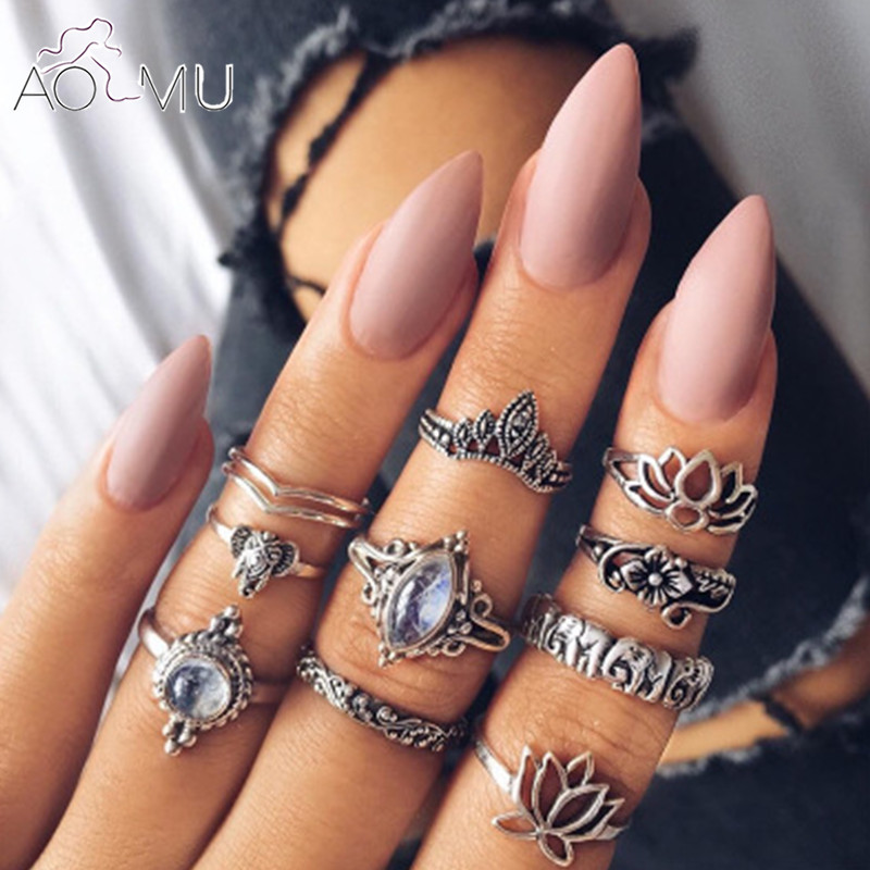 AOMU 10pcs/Set Antique Silver Lotus Crystal Rhinestone Finger Rings For Women Hollow Flower Midi Knuckle Ring Set Jewelry