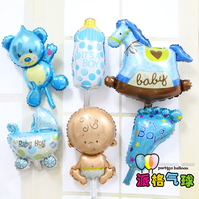 Mini 6pcslot Baby Shower Helium Foil Balloons Globos Baby Boy Girl