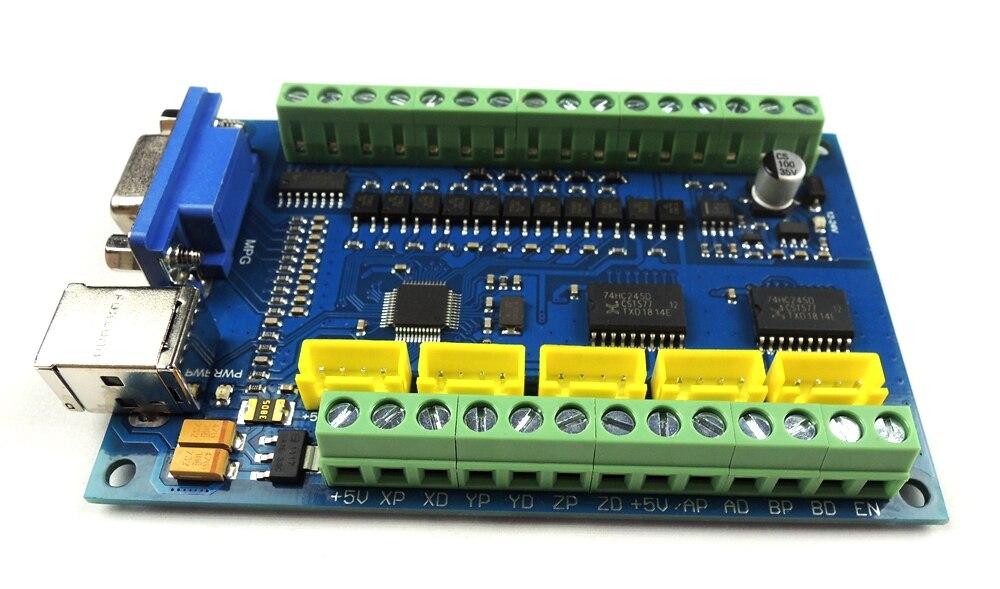 Actualización CNC MACH3 USB 5 eje 100 KHz USBCNC suave paso a paso controlador de movimiento tarjeta Placa de adaptación para CNC grabado 12 -24 V - 6