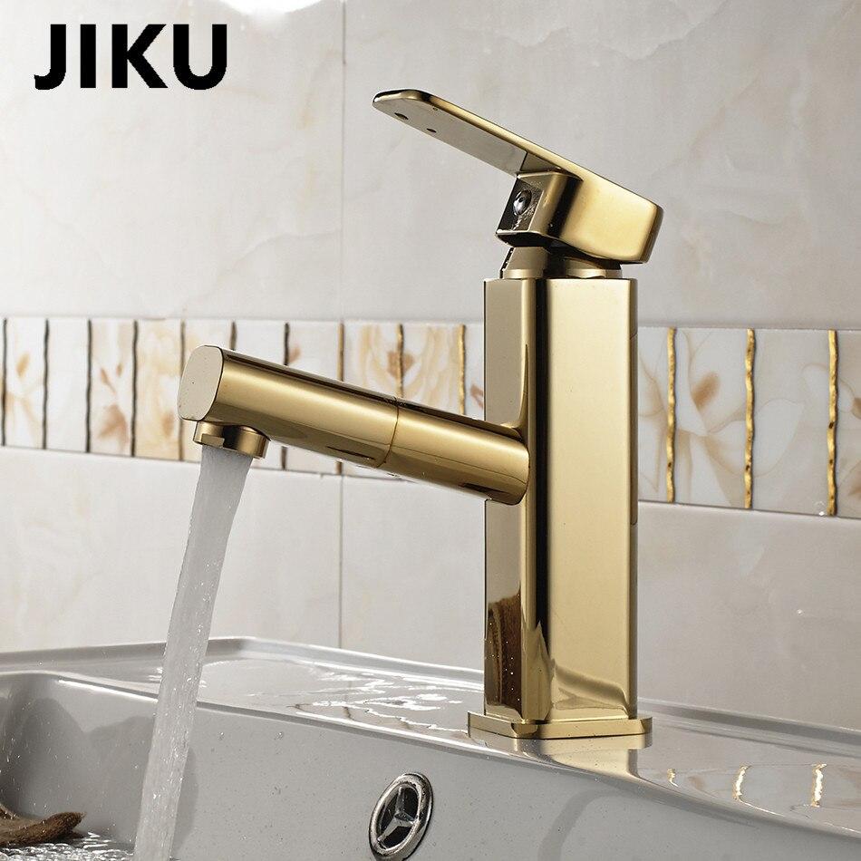 JIKU robinet de lavabo robinet de salle de bains poignée creux en laiton navire évier mélangeur d'eau finition Chrome moderne robinets cascade