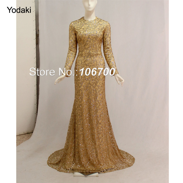 New 2018 Real Photos Mermaid Formal Evening Dresses Glitter Fabric Long  Sleeves O Neck Long Pageant Prom Gowns Arabic Style 55dd1230bdee