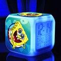 Боб губка Новый СВЕТОДИОДНЫЙ 7 Цветов Менять Цифровой губка touchlight Ночь Красочный Светящиеся игрушки