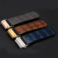 Hot Sale High Quality 25 18mm Brown Blue Gray Genuine Leather Watchband With Folding Buckle Free