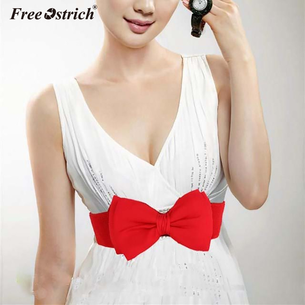 Free Ostrich Waist   Belt   2019 1 PCS Sweet Women Bowknot Elastic Bow Wide Stretch Summer Skirt Buckle Party Wedding Waistband N0