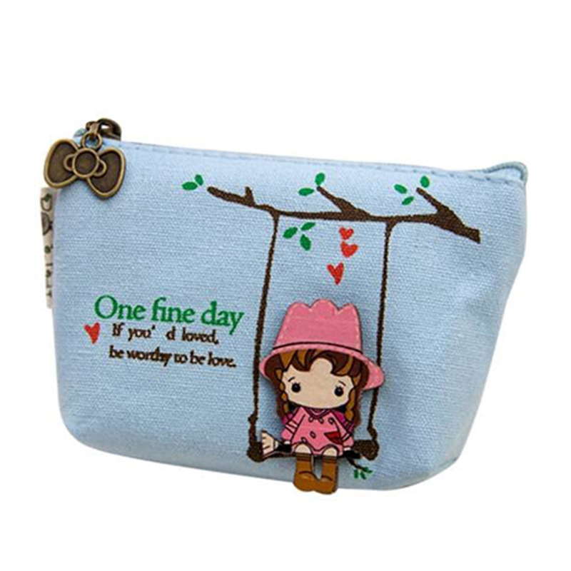 HEBA Elegant Ladies Sweet Canvas Mini Swing Girls Coin Wallet Pouch Purse Key Holder