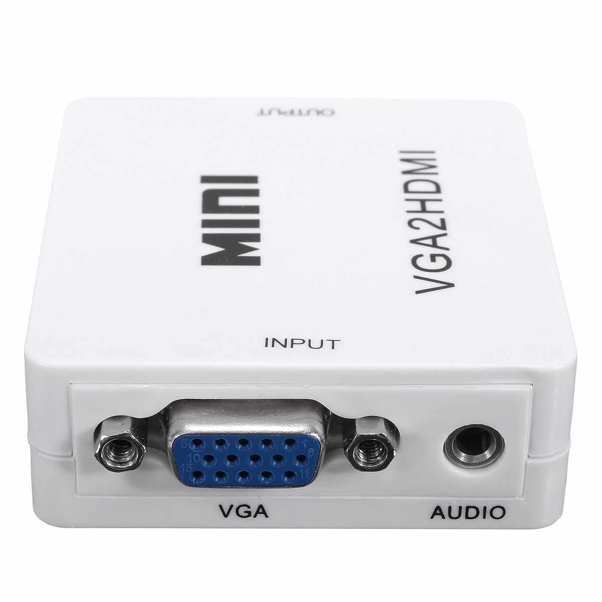 Leory المحمولة البسيطة 1080 وعاء vga إلى hdmi الصوت والفيديو محول مربع محول ل hdtv pc الكمبيوتر المحمول dvd الأبيض