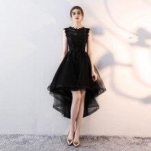 dc3cd9db866 Holievery Organza haut bas robes de Cocktail avec Appliques de dentelle  2019 noir argent bourgogne Champagne robe de soirée Midi.