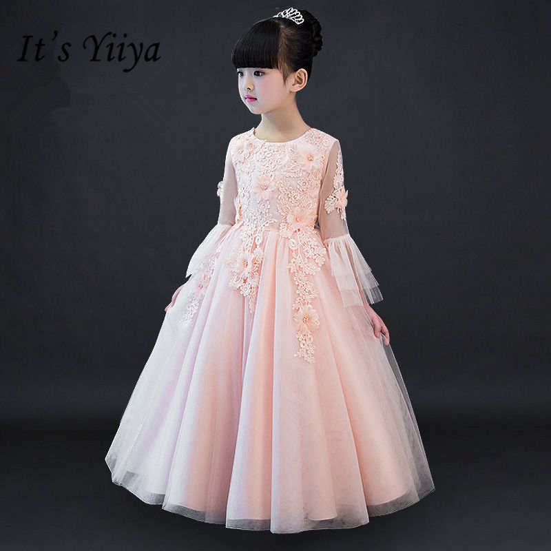It's yiiya High Grade Appiques Lace   Girl     Dresses   Fashion Flare Sleeve O-neck   Flowers     Girls     Dress   TYL007