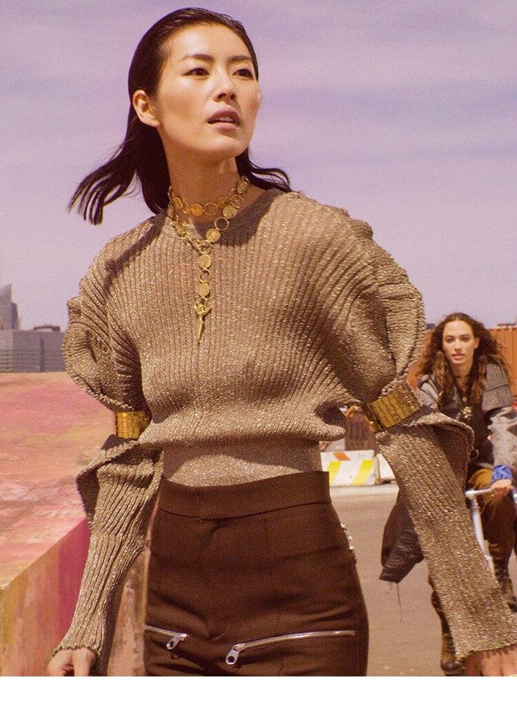 ด้ายโลหะถักเสื้อกันหนาวยาว Ruffled แขนรอบคอ Ribbed Hem แฟชั่นเงา Designer จัมเปอร์ 2019 ผู้หญิงใหม่-ใน เสื้อคลุมสวมศีรษะ จาก เสื้อผ้าสตรี บน   2