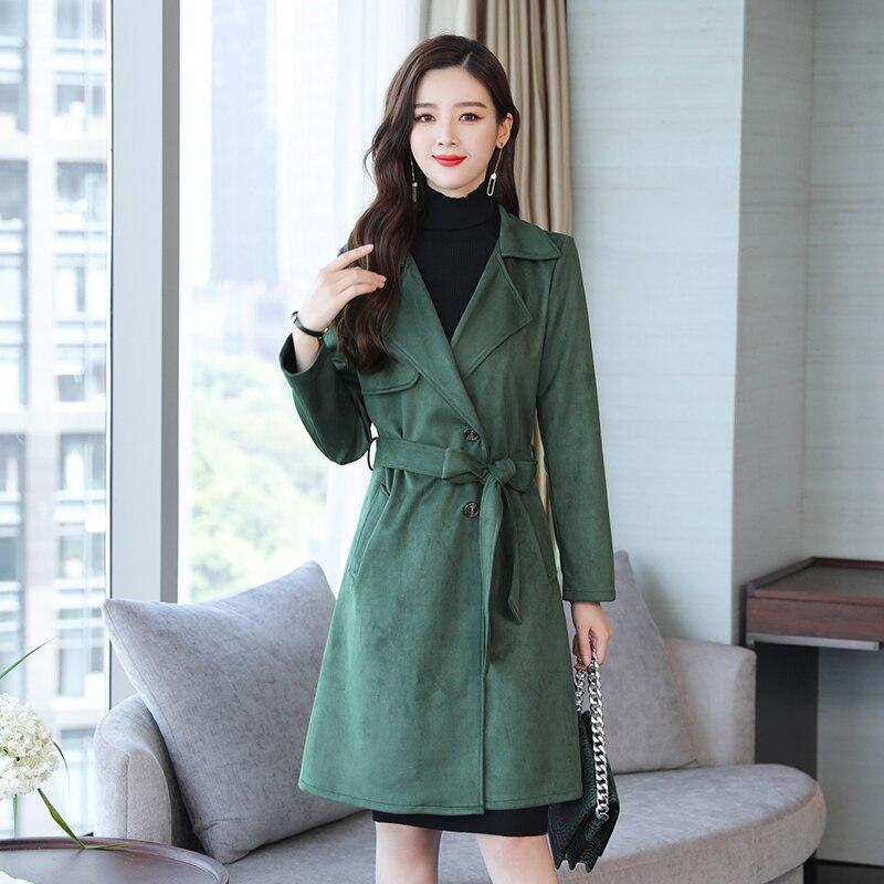YICIYA green Long Suede trench coat plus size XXXL 4XL 5XL bodycon slim women clothes winter 2019 spring oversized outerwear