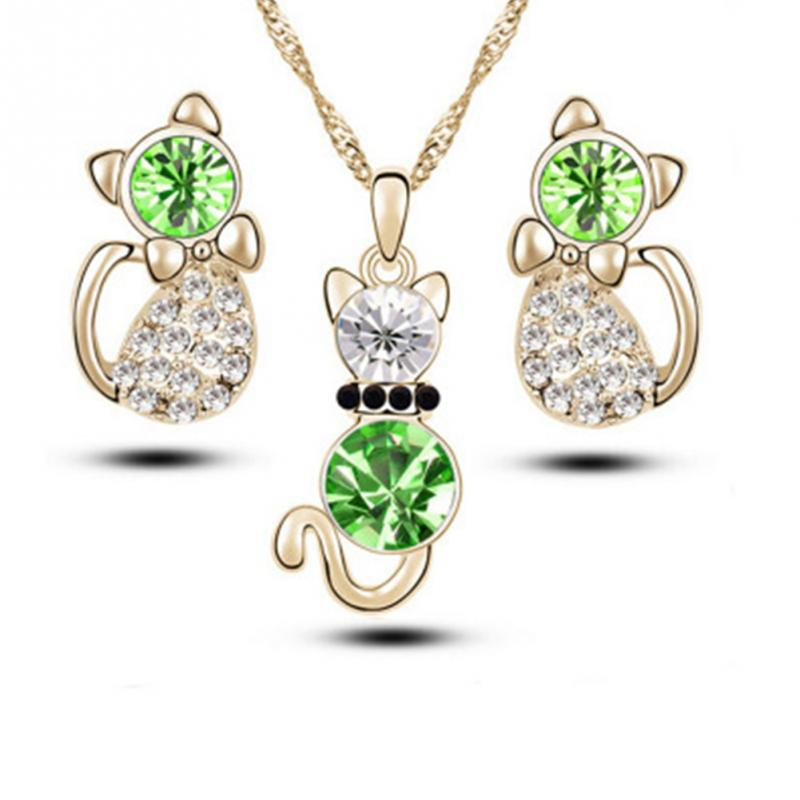 Lovely Wedding Crystal Cat Pendant Necklaces Earrings For Women Fashion Classic Rhinestone Jewelry Sets