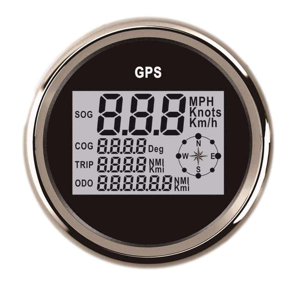 New LCD Display GPS Speedometer Gauge 0~999 Knots MPH Km/h Adjustable 85mm GPS Meter fit Universal Car Boat 9V ~32V 85mm car gps speedometer truck boat digital lcd speed gauge knots compass with gps antenna
