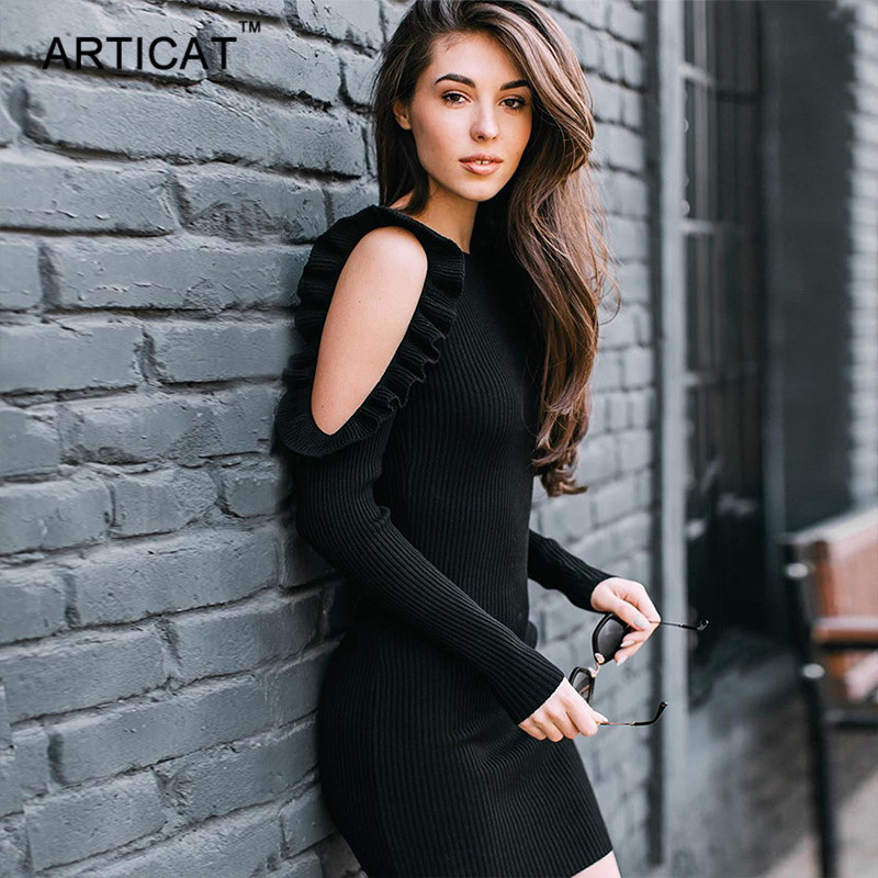 Articat Cold Shoulder Kintted Sweater Dress Women Sexy Ruffles Long Sleeve Bodycon Dress Slim Elastic Autumn Winter Short Dress