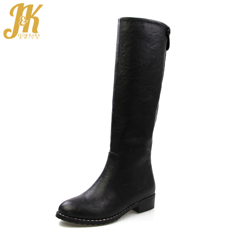 J&K 2017 Warm 650g Thick Plush Winter Boots for Women Shoes Chunky Heels Knee Boots Zipper Fashion Female Footwear High Quality