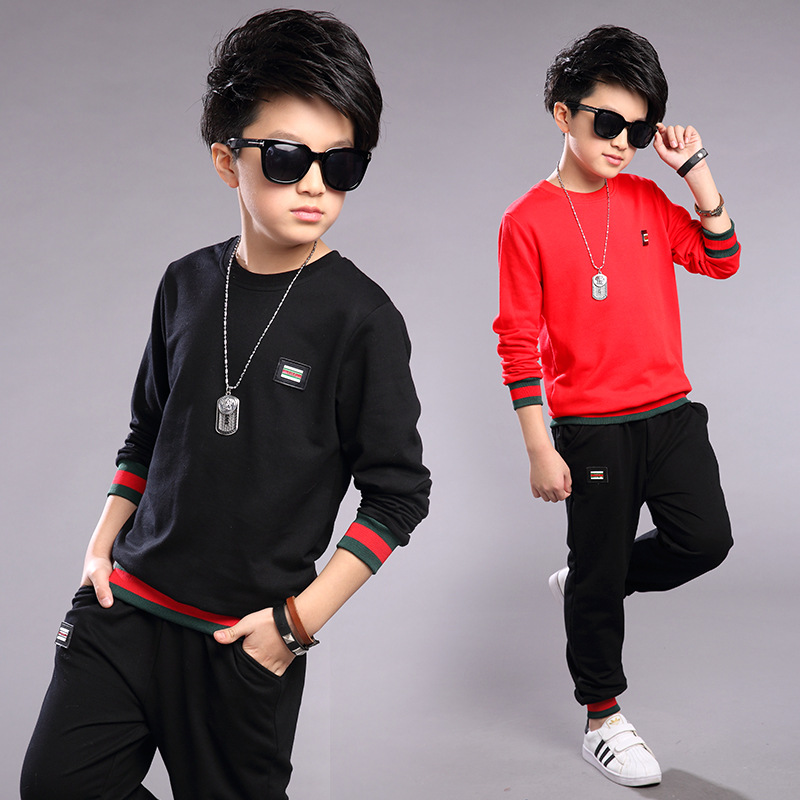 Boys 2017 Autumn new style suit children's thread pullover sportswear two-piece children clothing sets 5 6 7 8 9 10 11 years old