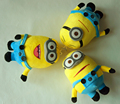 3 unids/lote Lindo Minion Felpa Corta Eye 3D Minions Muñeca de Juguete de Peluche para Niños Juguetes Con Ventosa Gran Cumpleaños de Los Niños regalo