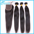 7A Brazilian Virgin Hair Straight With Closure, 4Pcs/Lot Unprocessed human hair weave with closure, brazilian hair with closure