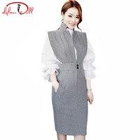 Outono 2 Peças Conjuntos de Vestido de Terno Mulheres Completa Alargamento Da Luva Ruffles Blusa branca Top Alta Cintura Fina Bodycon Midi Lápis Escritório Trabalho