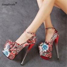 LLXF zapatos Plus:34-41 42 43 Spring/Autumn 2017 Nightclub Sexy 19cm High-heeled Ethnic Shoes woman Stiletto female Buckle Pumps
