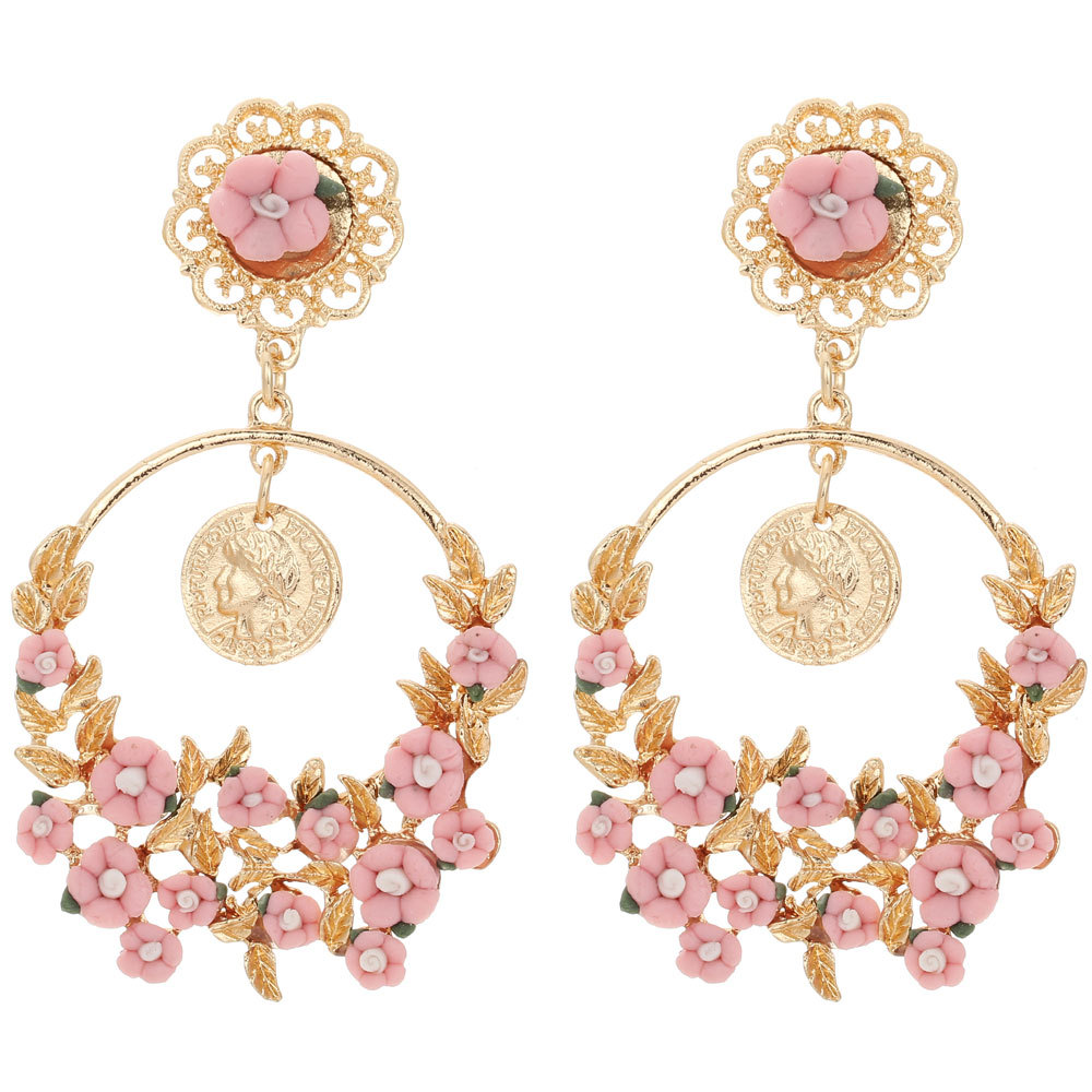 Long Women\'s Fashion Earrings White/Pink Small Flower Leaf ...