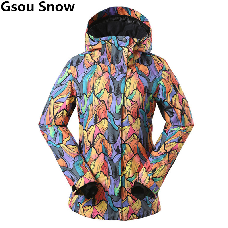 GSOU SNOW Brand Ski Jacket Women Winter Waterproof Snowboard Jacket Breathable Thermal Outdoor Snow Jackets Top Quality Ski Coat цена и фото