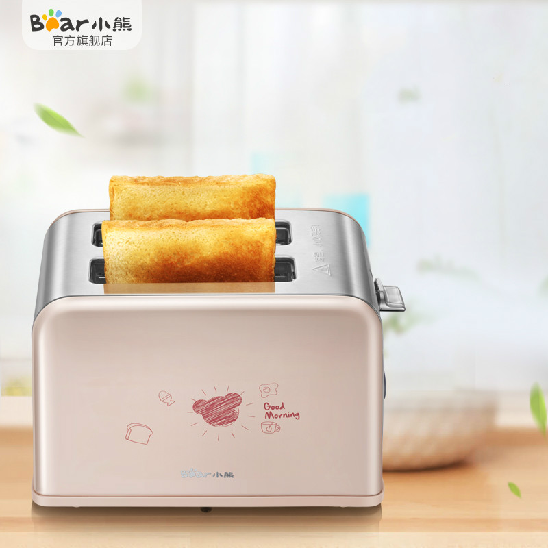 Bear Mini Bread Toaster 680W with Cover Gridiron Vertical Toaster Oven Sandwich Baking Machine still life with bread crumbs