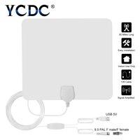 YCDC jusqu'à 80 Miles Amplifié Hdtv Antenne Tv Numérique Intérieure Antennes Signal Amplificateur Booster POUR TVHD Recevoir signal local