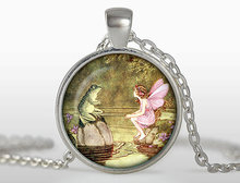 New Vintage Fairy And Frog Pendant Lovely Fairy Necklace Round Photo Jewelry Silver Glass Cabochon Necklaces Gifts ChildrenHZ1