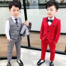 2018 boys flower brooch performing suit three-piece children a undertakes  Fashion kids costume clothing ALI 307
