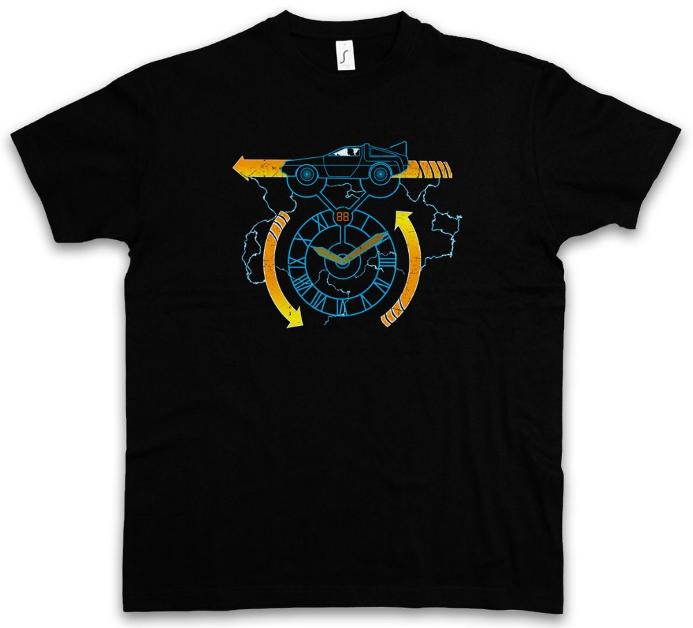 2018 Latest Funny Men Crew NeckCLOCKTOWER 88 MILES T-SHIRT Back McFly To Delorean The Doc Brown Future T Shirt