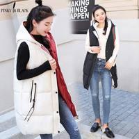 PinkyIsBlack New Long Vest Women Coat 2018 Winter Vest Women Waistcoat Fashion Ladies Hooded Outerwear Vest Jacket For Female