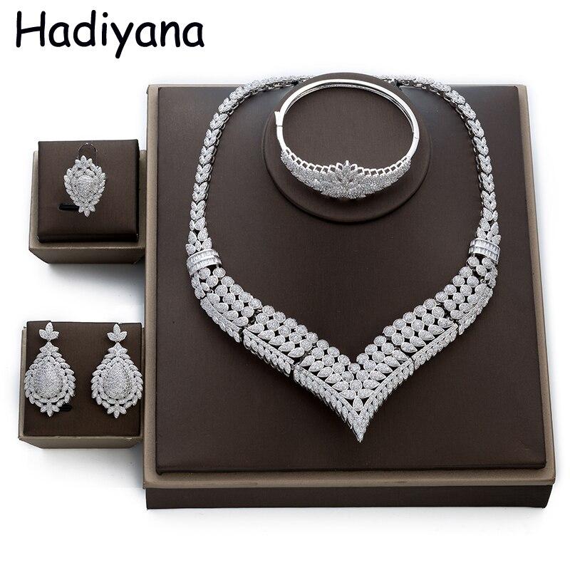 Hadiyana Hot Luxury Women Jewelry Set Elegant Wholesale Bridal CZ Necklace Earrings Bangle Ring 4pcs Big
