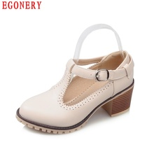 Lady Casual T Strap Buckle Cut-out Thick High Heels Round Toe Vintage Womens Shoes Spring Air Pumps