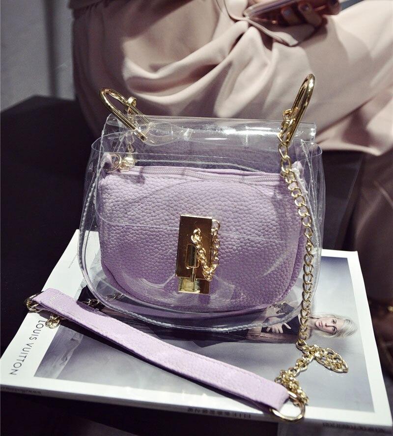 ФОТО Summer Style 2017 Small Chain Jelly Bag Transparent Women Messenger Bag Leather Handbag Circular Lock Women Beach Bag