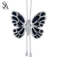 SA SILVERAGE Real 925 Sterling Silver Necklaces For Women Butterfly Sweater Chain Aventurine Stone Pendent Necklace Jewelry