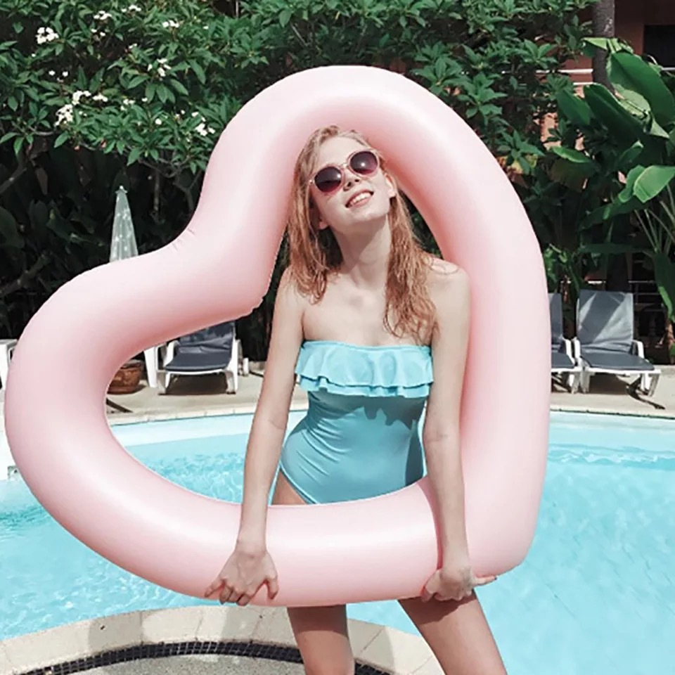 INS Hot Inflatable Sweet Heart Swimming Rings Laps Giant Pool Party Lifebuoy Float Mattress Swimming Circle Pink Red 90cm