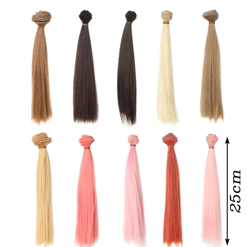 1pcs 25*100CM Straight Supple hair For dolls 1/3 1/4 1/6 BJD/SD doll wigs new colour 15cm 25cm 30cm 35cm 50cm bjd wigs straight hair extension hair piece for 1 3 1 4 1 6 bjd sd dollfie 1pc