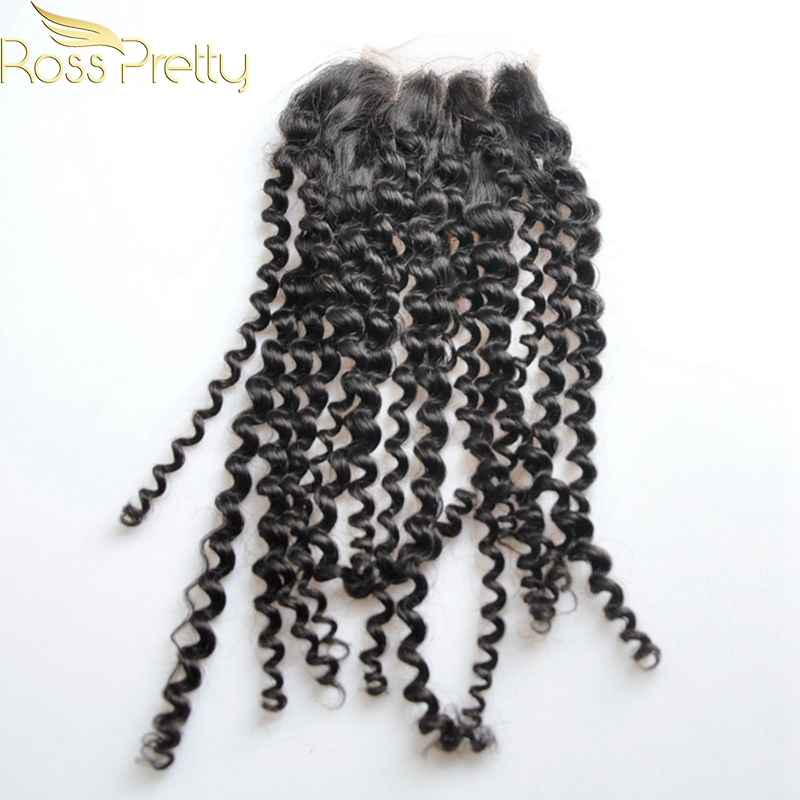 Ross Pretty Hair 1pcs Brazilian Remy Hair Kinky Curly Human Hair Lace Closure Natural Color Black High Quality 4x4 Closure